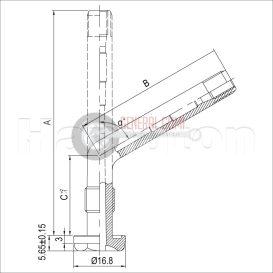 TR553C TGK-BUSZ  szelep, 1X hajlított, króm, L 58,5/9,7/45°, 1-553C HT