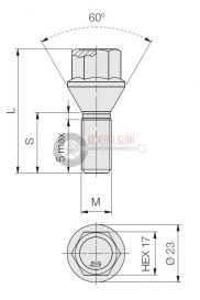 12x1,5x28 HEX17 kúpos kerékcsavar, 60° galvanizált, ELB104