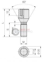 12x1,5x28 D20 BELSŐ TORX kerékcsavar, kúpos 60°, galvanizált, ELB353