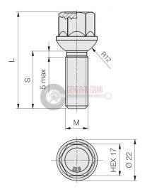 12x1,5x32R12 HEX17 rádiuszos kerékcsavar, galvanizált, ELB530