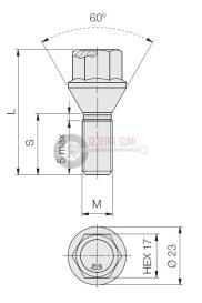 12x1,25x50 HEX17 kúpos kerékcsavar, 60° galvanizált, FT