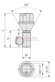 12x1,25x55 HEX17 kúpos kerékcsavar, 60° galvanizált, FT