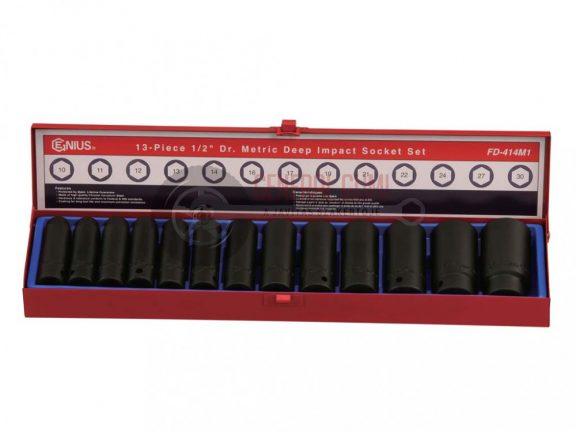 """Légkulcsfej készlet, 13 darabos, 1/2"""",10-30 mm, hosszú, TD413M"""